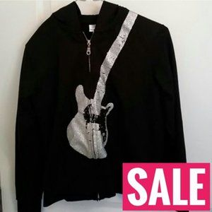 SALE  Rockstar black glitter guitar jacket